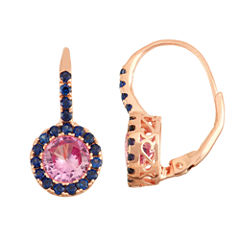 Lab-Created Pink Sapphire & Blue Sapphire 14K Rose Gold Over Silver Leverback Earrings