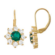 Lab-Created Emerald & White Sapphire 14K Gold Over Silver Leverback Earrings