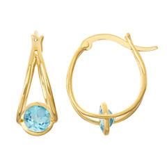 Genuine Blue Topaz 14K Gold Over Silver Hoop Earrings
