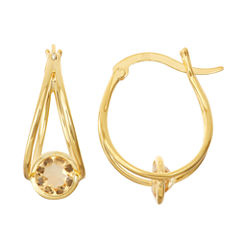 Genuine Citrine 14K Gold Over Silver Hoop Earrings