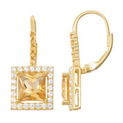 Genuine Citrine & Lab-Created White Sapphire 14K Gold Over Silver Leverback Earrings
