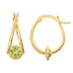 Genuine Peridot 14K Gold Over Silver Hoop Earrings