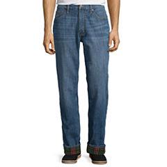 St. John's Bay® Flannel-Lined Cotton Denim Pants