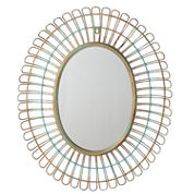 Distressed Blue Oval Wall Mirror