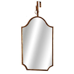 Distressed Gold-Tone Shield Wall Mirror with Loop