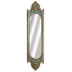 Distressed Blue Scroll Long Wall Mirror
