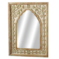 Distressed Ivory Green Floral Arch Wall Mirror