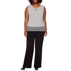 Liz Claiborne® Sleeveless Keyhole Knit Top or Slimming Straight-Leg Pants - Plus
