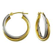 Two-Tone 14K Gold Double Hoop Earrings