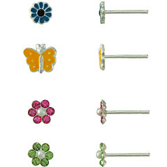Girls Sterling Silver 4-pr. Enamel Earring Set