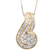 3/4 CT. T.W. Diamond Two-Tone 10K Gold Swirl Pendant Necklace