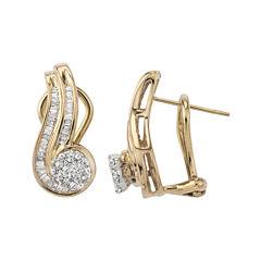 3/4 CT. T.W. Diamond Two-Tone 10K Gold Swirl Earrings