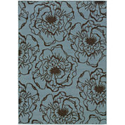 Blue Ink Floral Indoor/Outdoor Rectangular Rug