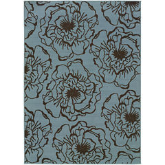 Covington Home Blue Ink Floral Indoor/Outdoor Rectangular Rug