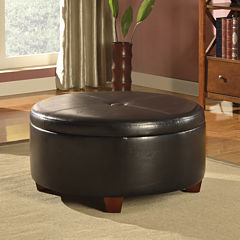 Brenton Faux-Leather Round Storage Ottoman