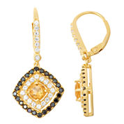 Genuine Citrine, Genuine Black Spinel, And Diamond Accent 14K Gold    Over Silver Earrings