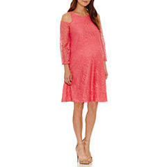 Planet Motherhood 3/4 Sleeve Swing Dress-Maternity