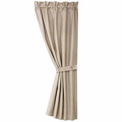 Hiend Accents 48x84 Silverado Coordinating Faux Leather Curtain Rod-Pocket Curtain Panel