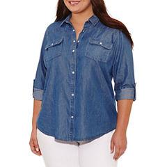 Boutique + Long Sleeve Button-Front Shirt-Plus