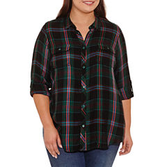 Boutique + Long Sleeve Button-Front Shirt-Plus