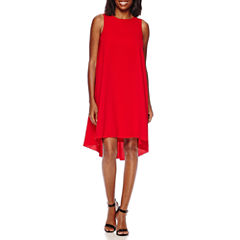 Sharagano Sleeveless High-Low Shift Dress