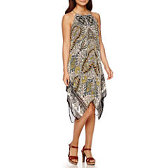 MSK Sleeveless Halter Medallion-Print Hanky-Hem Shift Dress