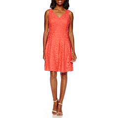 London Style Collection Sleeveless Petal Lace Fit-and-Flare Dress