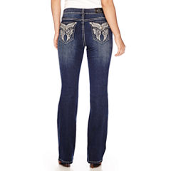 Love Indigo Angel Wing Embellished Back Flap Pocket Bootcut Jean