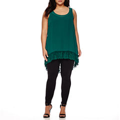 Boutique+ High-Low Ruffle Tank Top, Essential V-Neck Cami or Essential Leggings - Plus
