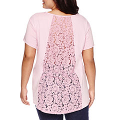 Boutique+ Short-Sleeve Lace Panel Tee - Plus
