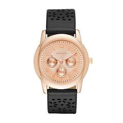 Arizona Womens Rose Gold Tone Black Strap Watch