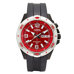 Casio® Mens Black and Red LED Strap Watch MTD1082-4AV