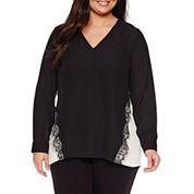 Worthington® Long-Sleeve Colorblock Lace-Trim Blouse - Plus