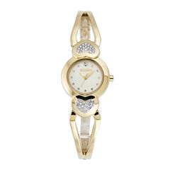 Elgin® Womens Heart-Shaped Crystal Bangle Watch