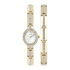 Elgin® Womens Gold-Tone and Crystal Watch and Bracelet