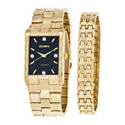 Elgin® Mens Diamond-Accent Gold-Tone and Black Watch and Bracelet