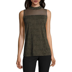 Worthington Sleeveless Mock Neck T-Shirt-Womens
