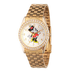 Disney Women'S Gold Tone Minnie Mouse Glitz Bracelet Watch W002765