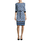 Liz Claiborne® 3/4-Sleeve Geo Stripe Border Shift Dress