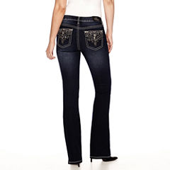 Love Indigo Paisley Embellished Back Flap Pocket Bootcut Jean