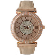Olivia Pratt Womens Rose Gold Tone Crystal Accent Cream Leather Strap Watch 14396