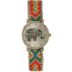 Olivia Pratt Womens Orange Braided Elephant Print Dial Strap Watch 14811