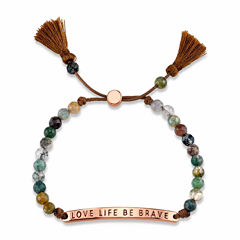 Footnotes Womens Green Aventurine Brass Bolo Bracelet
