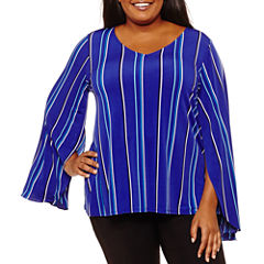 Worthington Long Split Sleeve V Neck Knit Blouse-Plus