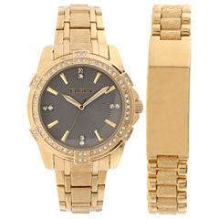 Elgin® Mens Gold Tone Id Bracelet Watch Set Fg10009St