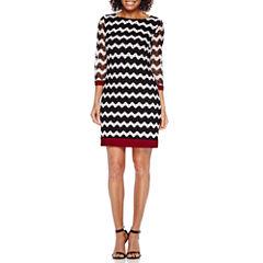 Studio 1® 3/4-Sleeve Chevron Knit Shift Dress - Petite