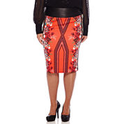 Bisou Bisou® Printed Scuba Pencil Skirt  - Plus