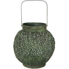 Oriental Furniture Green Patina Wrought Iron Decorative Lantern