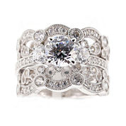 DiamonArt® Cubic Zirconia Sterling Silver Vintage-Style Bridal Ring and Guard Set