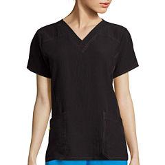 WonderWink® Four-Stretch Womens Short-Sleeve Sporty V-Neck Top - Plus